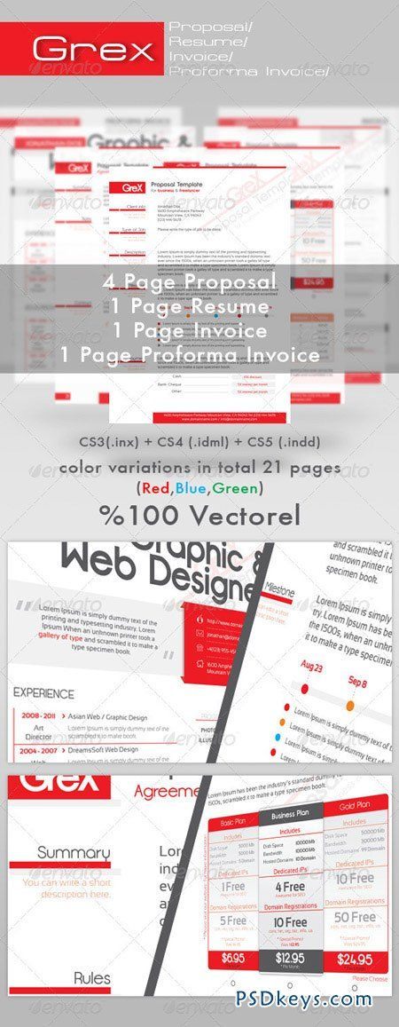 Grex Proposal Resume Invoice Template Package 490929 Psd