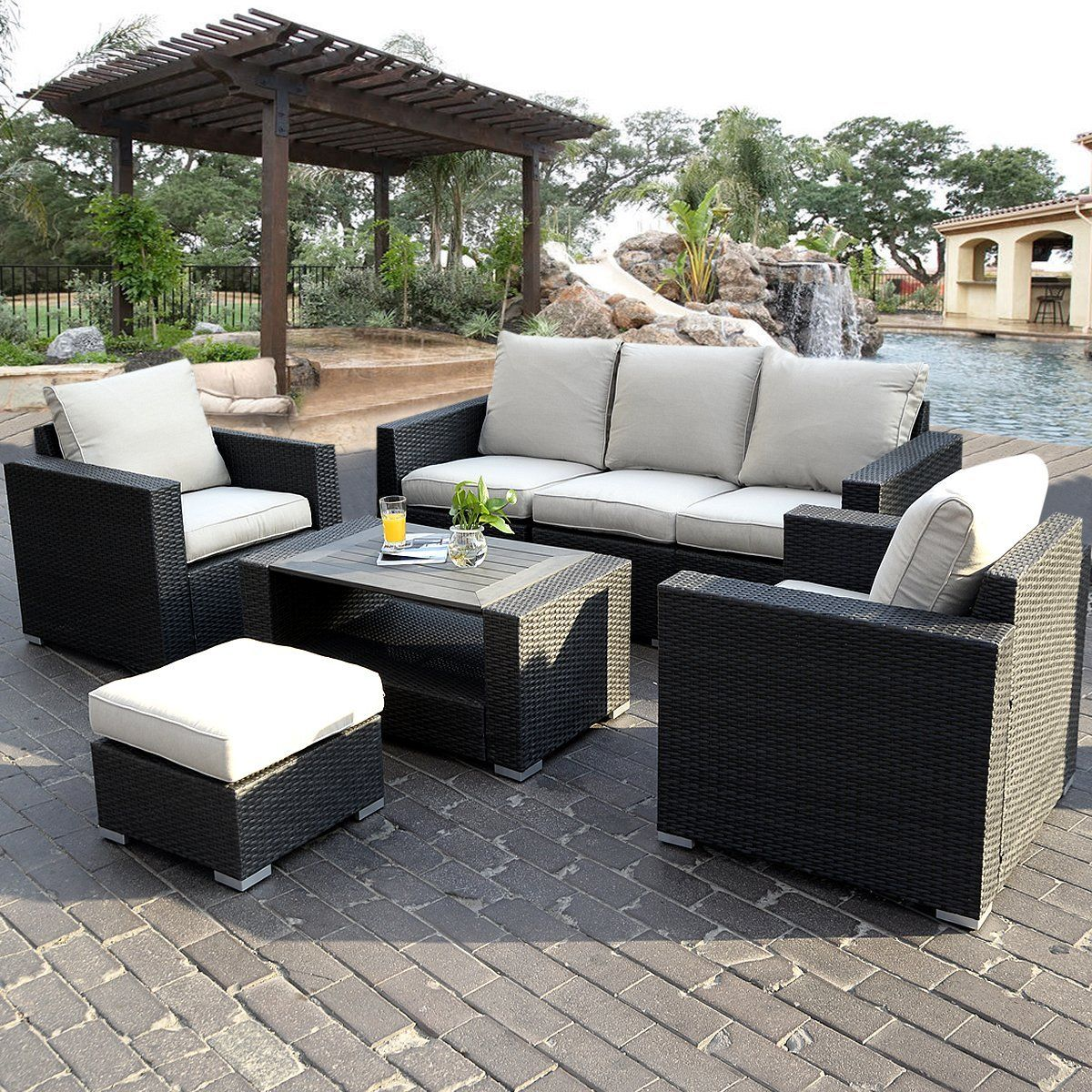 wicker sofa sets uk camper slipcovers fds 7pc rattan outdoor garden furniture patio corner set pe conservatory amazon co outdoors