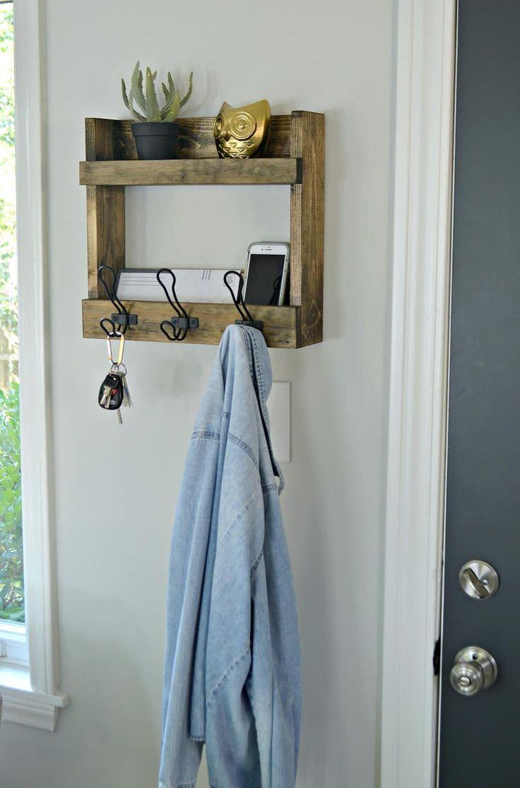 Rustic Wall Mounted Coat Rack with Shelves Diy coat rack