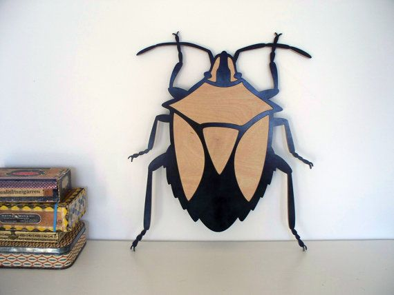 lovely Bug  Heteroptera Insect Beetle Wood Plywood by e23Vintage, €125.00