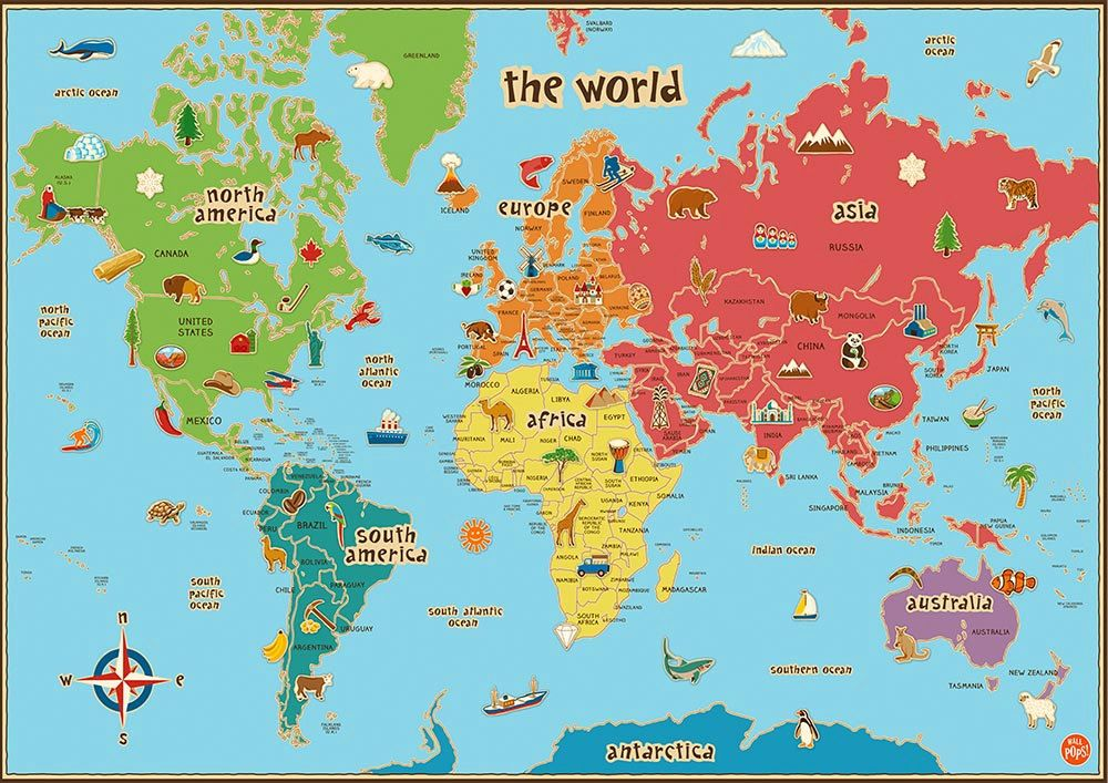 Children's World Map Poster Wall Art Kids Baby Shower Present