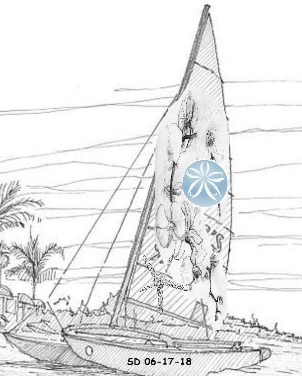 Other Catamaran With Orchids Starfish And Sand Dollar On Sail And Date On Bow Catamaran Tatouage