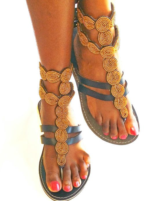 Flip Farben Perlen Afrikanische Schuhe Sandalen Flops Gold Leder vOmN8n0w