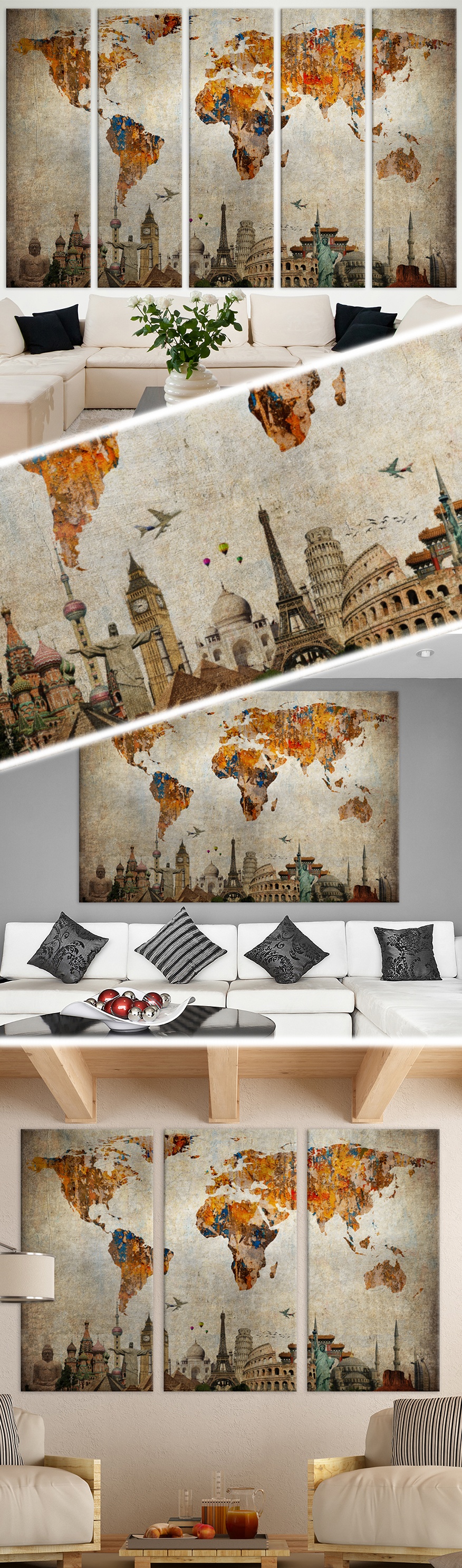 creative world map canvas prints wall art for large home or office wall decoration