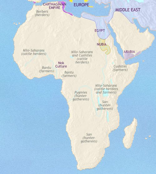 History, map and timeline of Africa 500 BC showing foreign powers