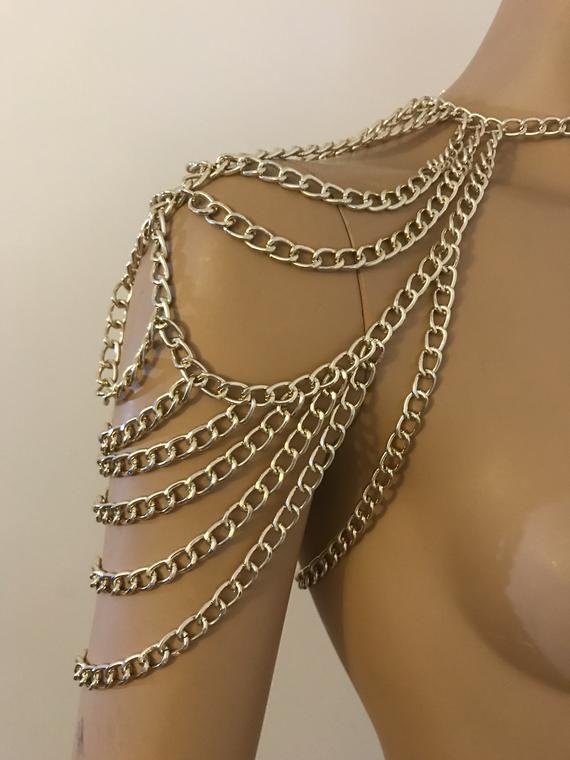 Photo of Gold Shoulder Necklace / One Shoulder Necklace / Body Harness