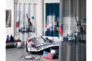 Rideau à oeillets sur le thème USA | Décoration New york | Pinterest