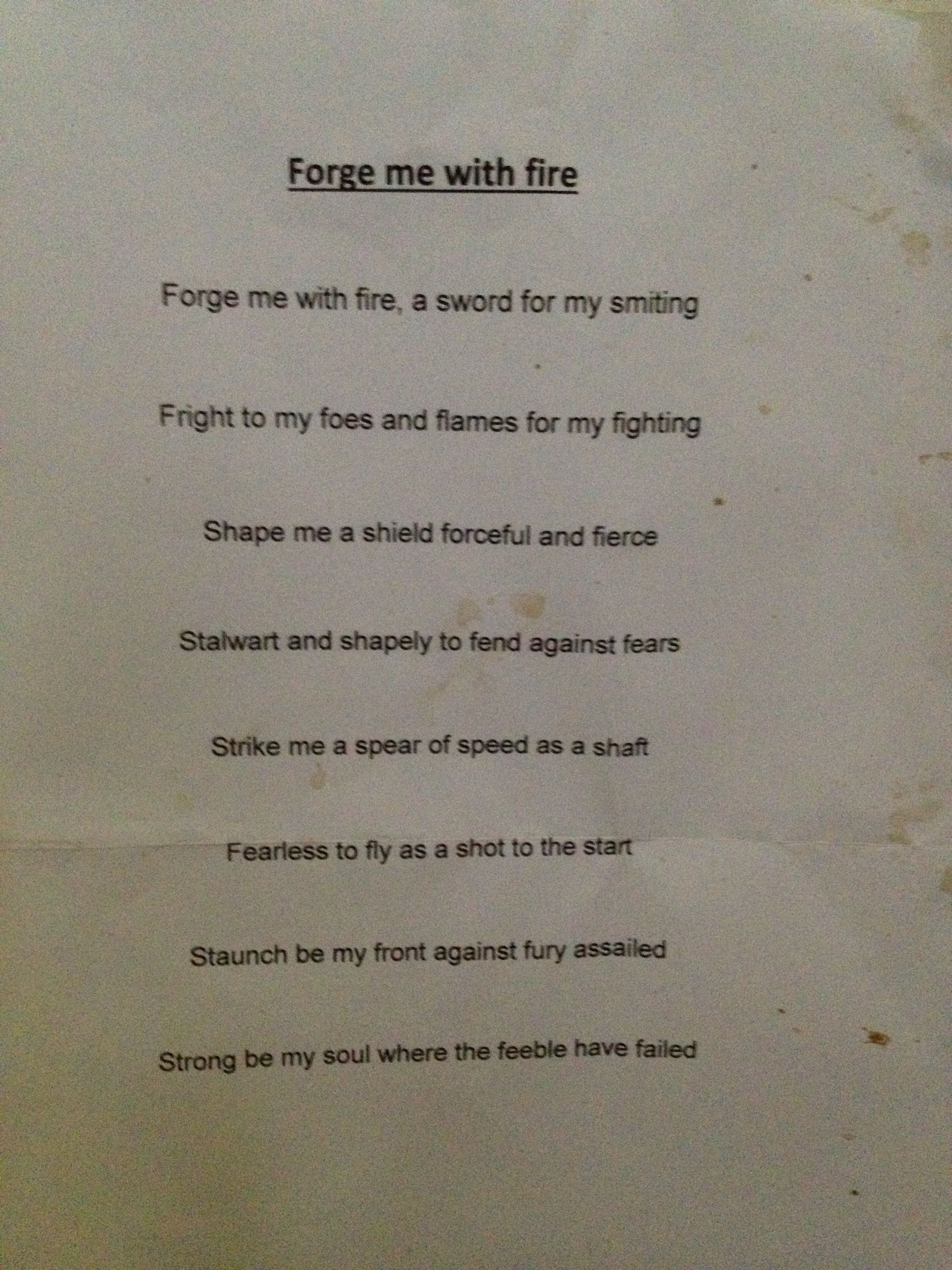 Forge Me With Fire Class 4 Viking Verse Waldorf