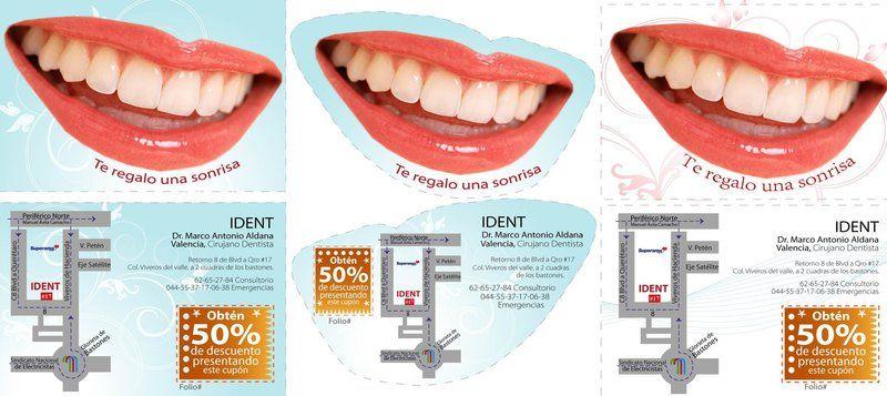 Volante recorte en forma de sonrisa para consultorio dental.