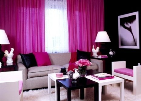 Black And White And Pink Living Room hot pink living room | inspiration | pinterest | living rooms