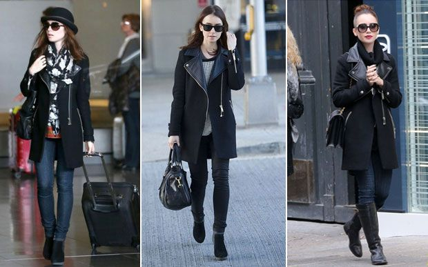 Lily Collins, leather overcoat #fashion
