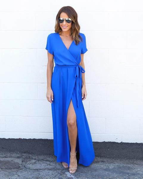 Solid Bardot Wrap Dress Cobalt Blue