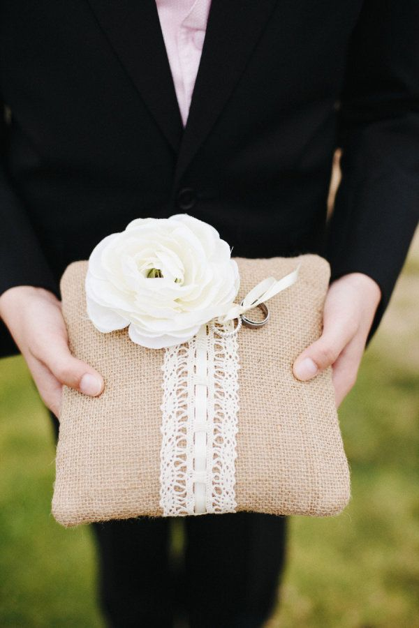 An uber-elegant wedding with just a touch of rustic whimsy ;) Burlap & Lace Ring Pillow ~ Photography by joshelliottstudios.com