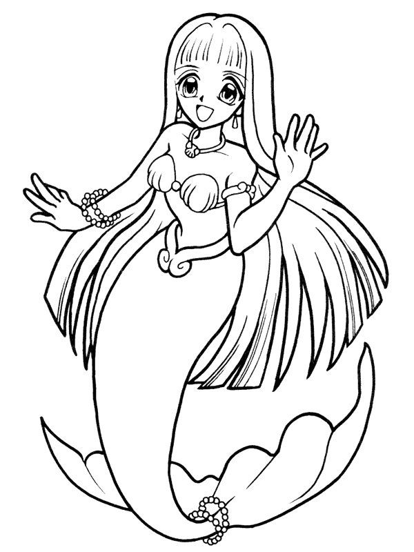 Cute Anime Mermaids Colouring Pages Kleurplaten Zeemeerminnen