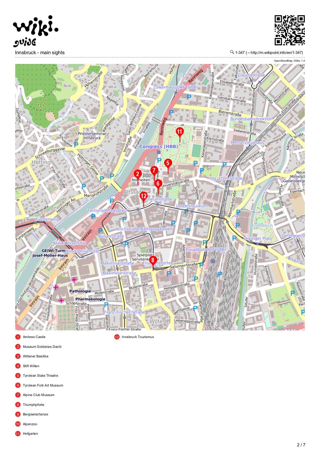 Map of Innsbruck | Innsbruck - main sights | Pinterest | Innsbruck