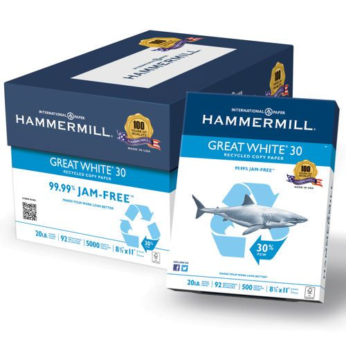 Hammermill Great White 30 Recycled Printer Paper Letter 20lb 92 Bright 10 Reams Of 500 Sheets Copy Paper Letter Paper Printed Paper