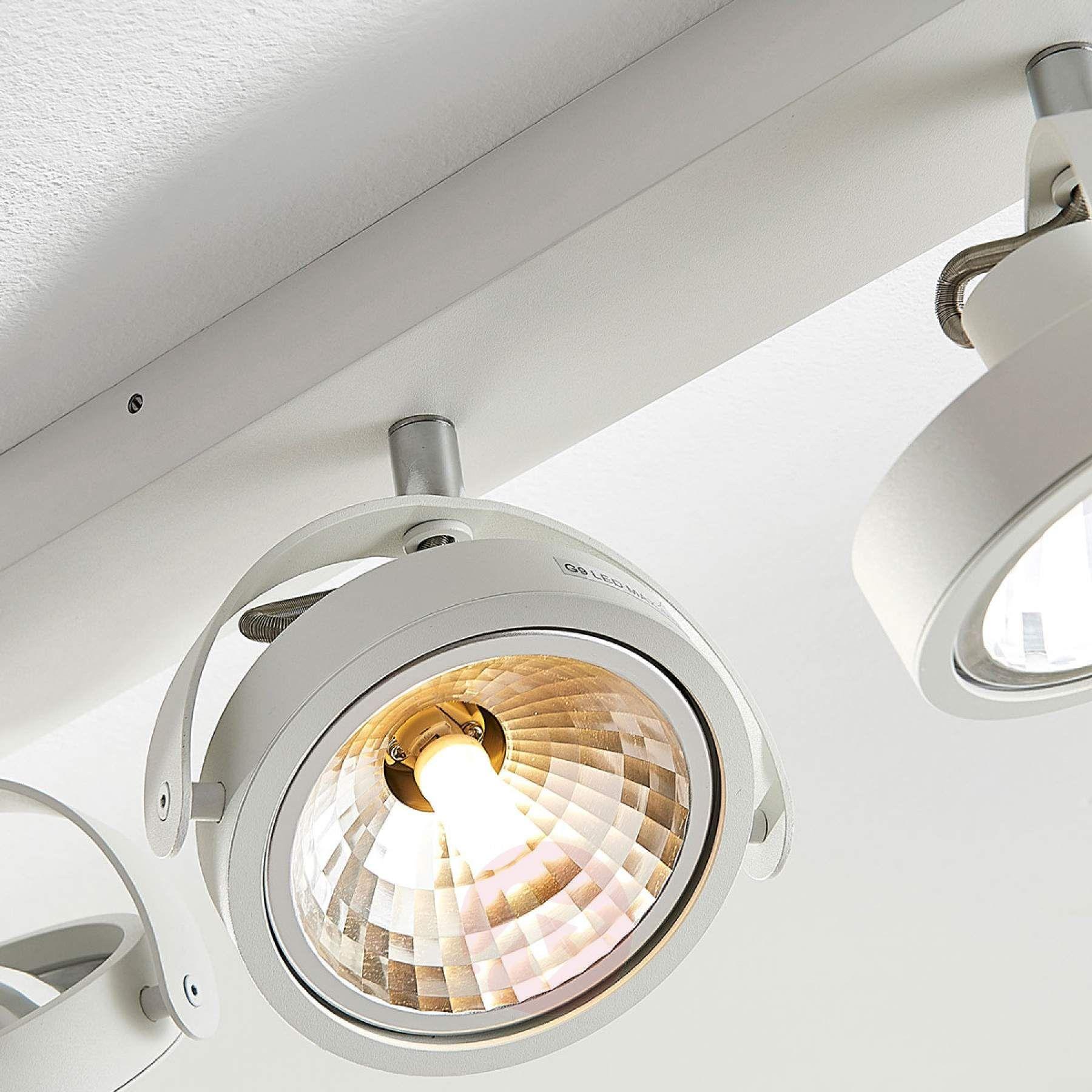 Längliche LED Deckenlampe Lieven, 4 fl. weiß | Led