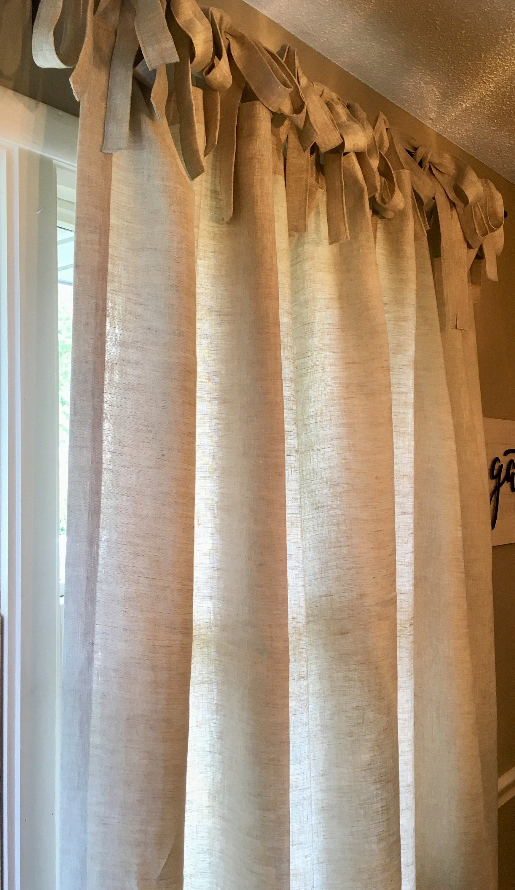 100 Linen Tie Top Curtain Panel Any Length Many Color Choices In 2020 Panel Curtains Tie Top Curtains Curtains