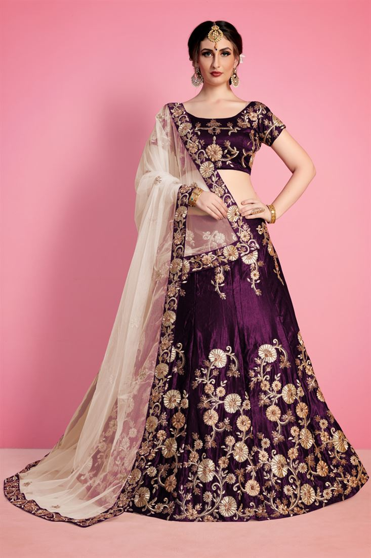 Pink Purple Velvet Lehenga Choli Indian Ethnic Party Wear Lengha Chunri Sari