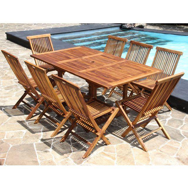 Salon de jardin en bois de teck huilé 8 pers Table rect larg ...