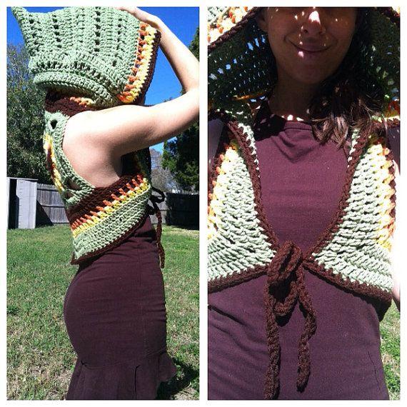 Sunflower mandala hooded shrug tie front vest por EarthTricks
