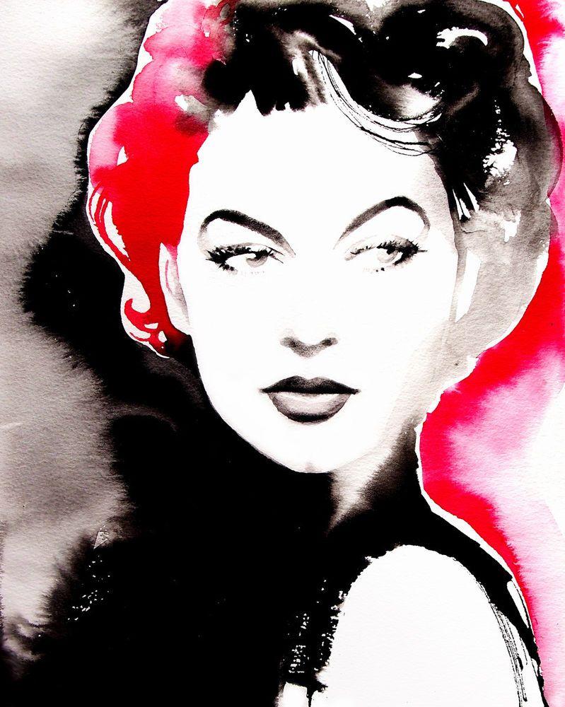 Ava canvas art print fashion icon unique red salon decor