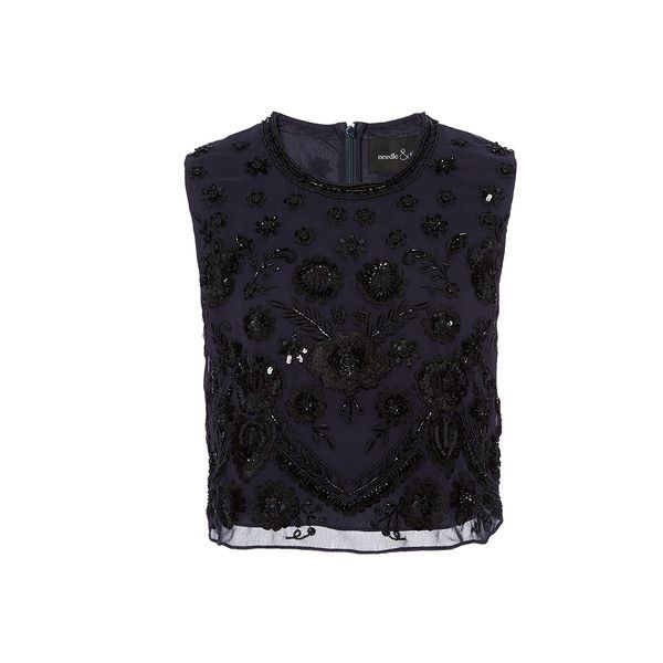 Needle & Thread Embroidered Motif Top (€230) ❤ liked on Polyvore featuring tops, blue floral top, embellished crop top, flower print crop top, floral top и embroidered top