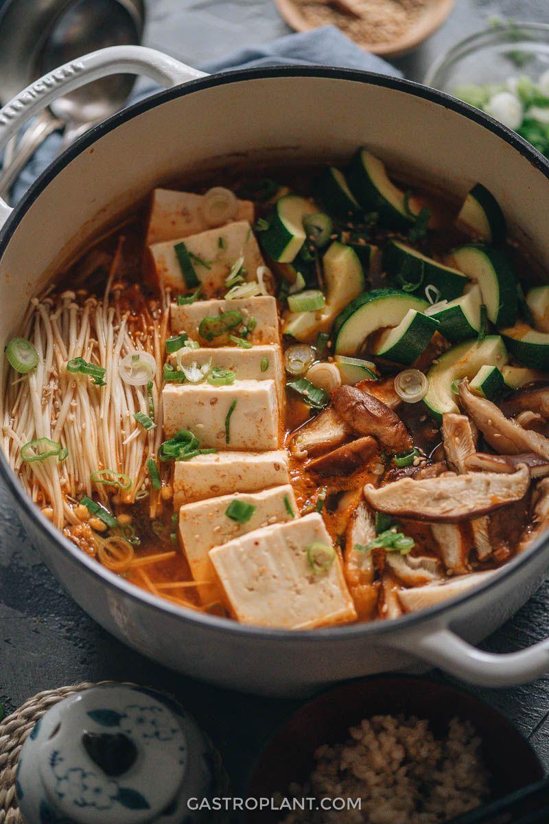Vegan Kimchi Jjigae Spicy Korean Stew Recipe Vegan Kimchi Recipes Kimchi