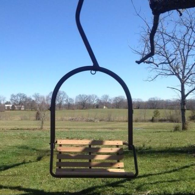 An Old Ski Lift Chair Redone Into A Tree Swing Made By Landon Ski Lift Chair Modern Wood Chair Blue Chairs Living Room