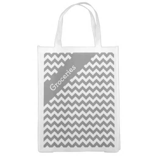 Battleship Gray Chevron Reusable Grocery Bag .........This design features a Battleship Gray Chevron pattern. The TEXT on both sides can be customized with your own. Check out my store for more colors.