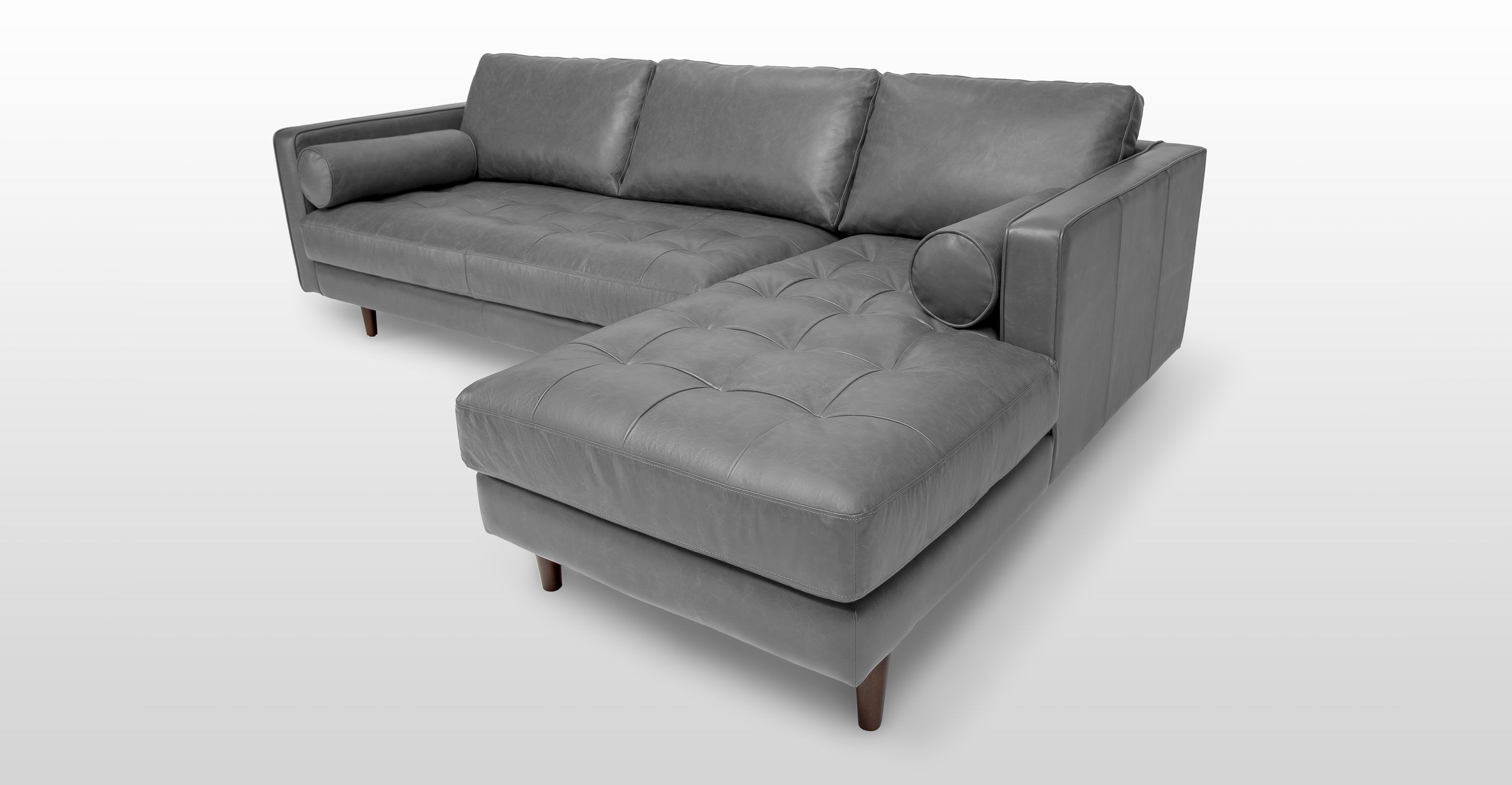 Gray Leather Sectional Sofa Upholstered