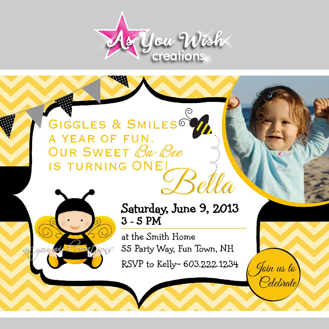 Bumble Bee First Birthday Invitation Black Yellow - DIGITAL FILE YOU ...