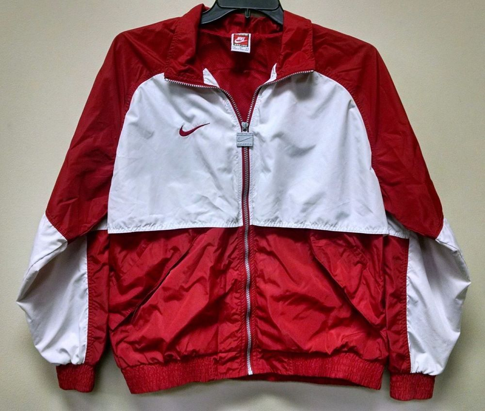 04795404bb98 FOR SALE  Vintage Nike Team Sports Mens Red White Zip Jacket Windbreaker  Medium  Nike  Windbreaker  Vintage  VintageNike  Retro  RetroNike   Throwback  TBT ...