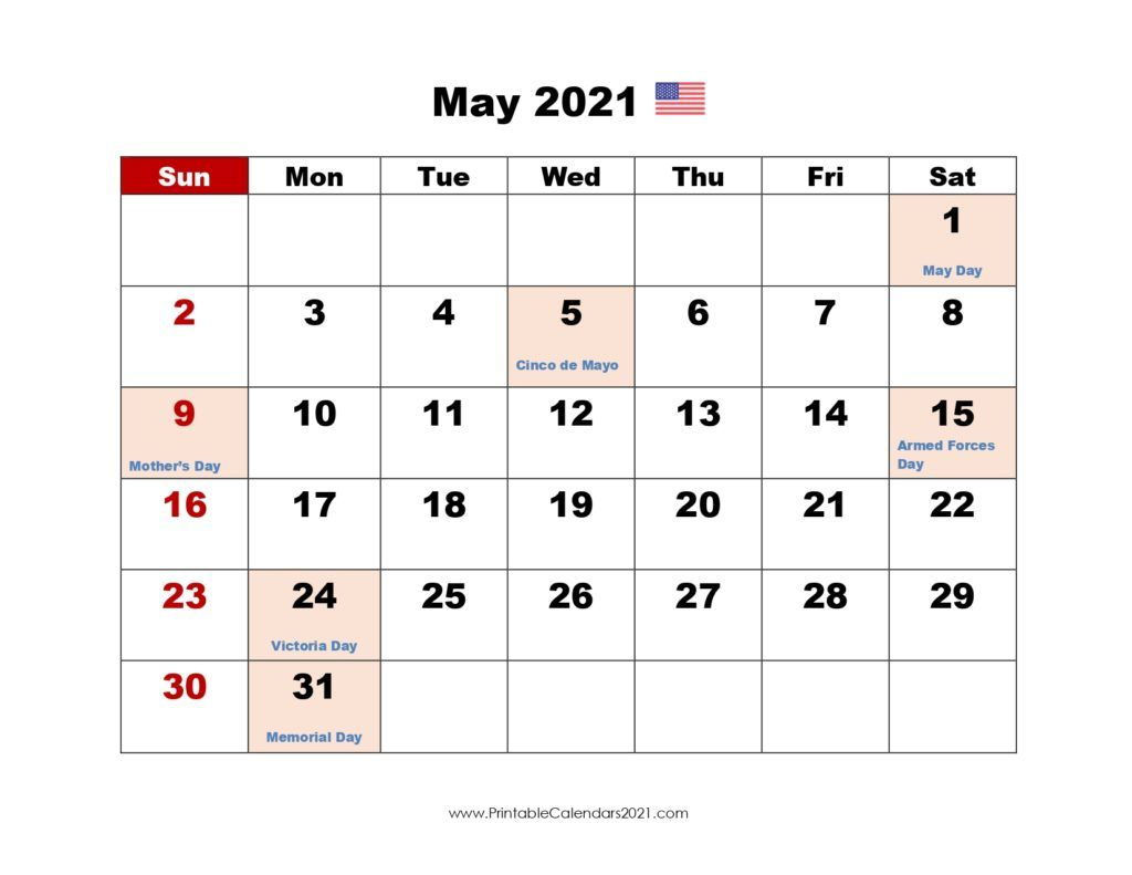 May 2021 Calendar Holidays Printable Calendar May 2021, Printable 2021 Calendar with Holidays