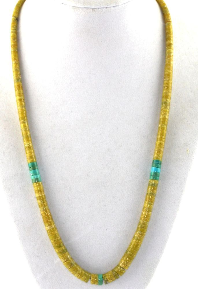 Old Pawn Santo Domingo Sterling Silver Turquoise Serpentine Heishi Bead Necklace