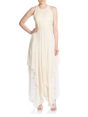 ALICE AND OLIVIA Jennifer Mixed Media Gown. #aliceandolivia #cloth #gown