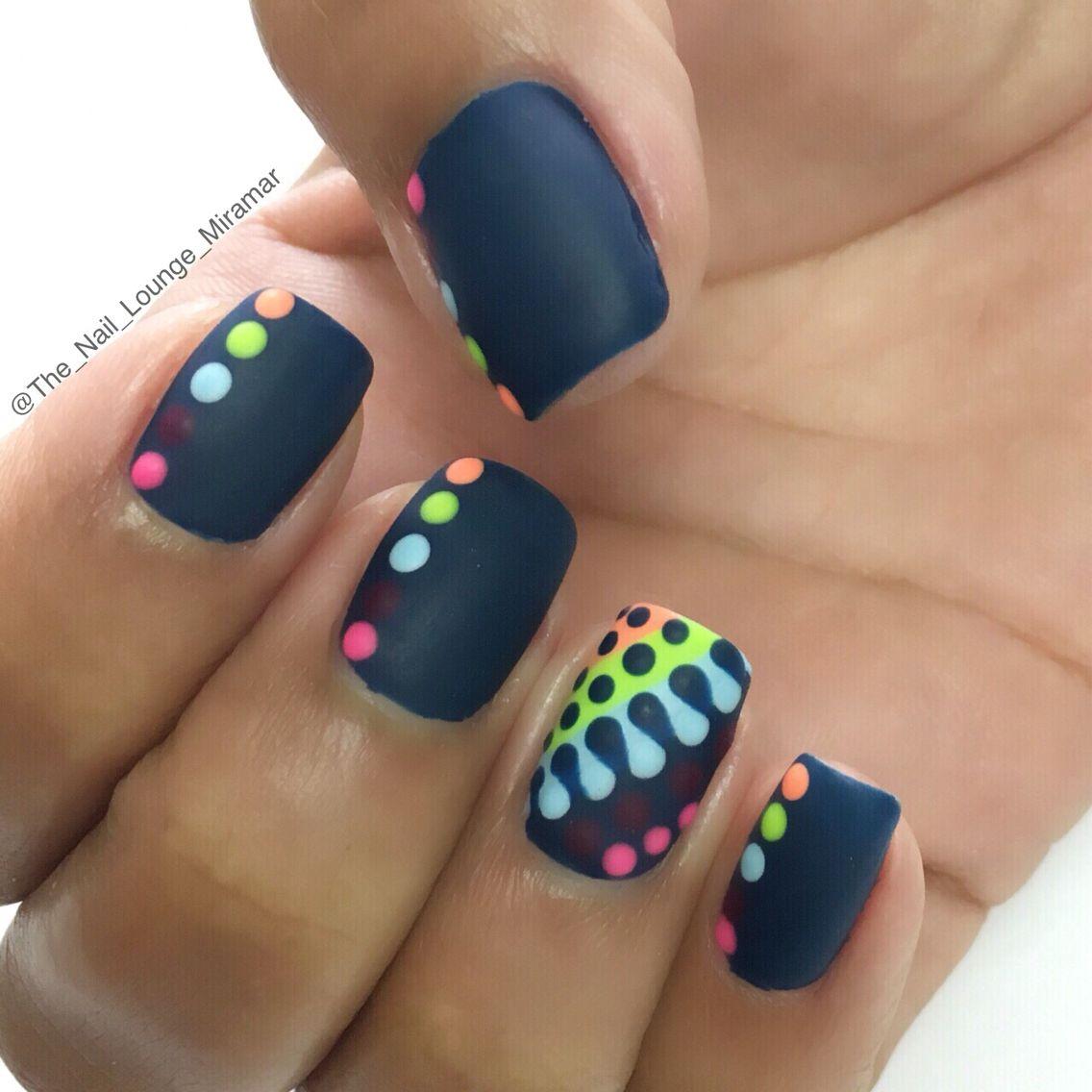 Bright colorful dots nail art design