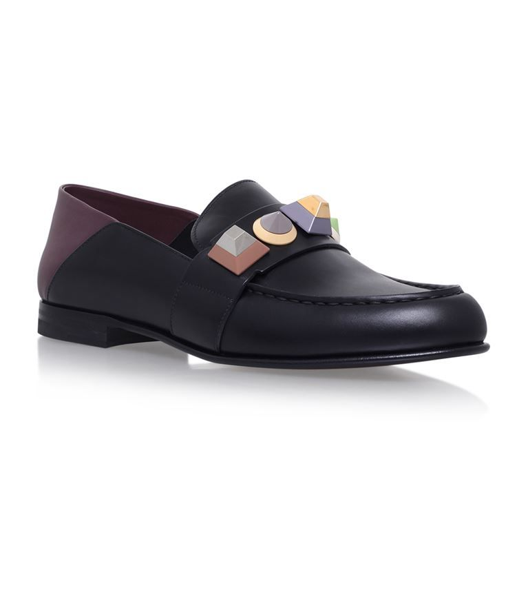 Fast Delivery Fendi Fendi Faces Leather Loafers Womens Fendi Womens Loafers