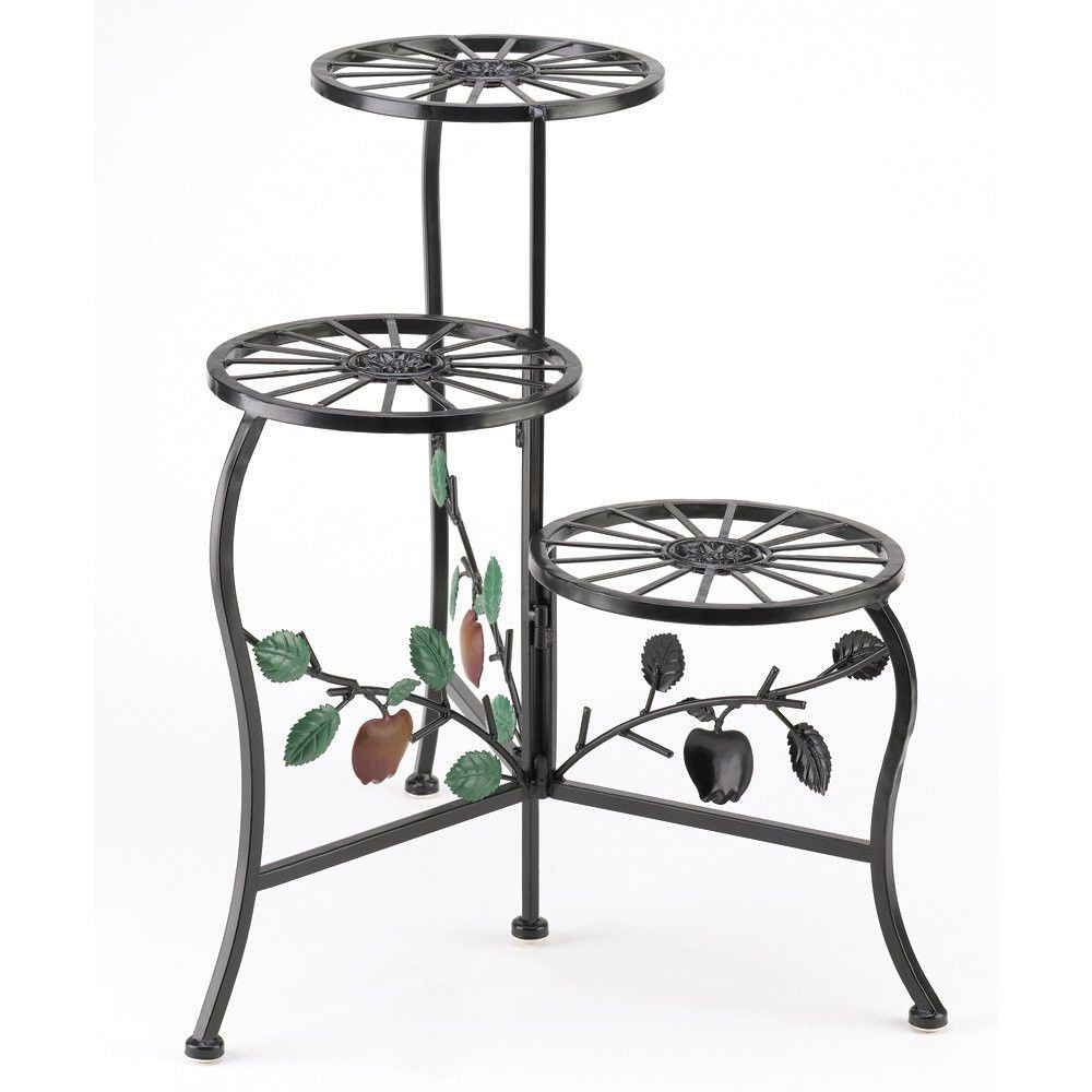 Country Styled TheIn/Outdoor Plant Stand Shelf Hold 3 Flower Pot S Made  From Wrought Iron.