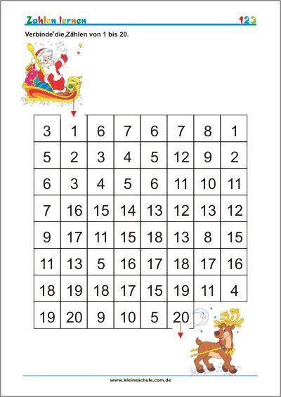 Zahlen bis 20 lernen - Kostenlose Mathe Arbeitsblätter | Kostenlose ...