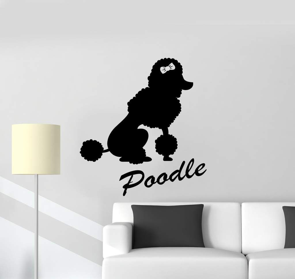vinyl wall decal poodle dog logo home pet animal stickers on wall logo decal id=16791