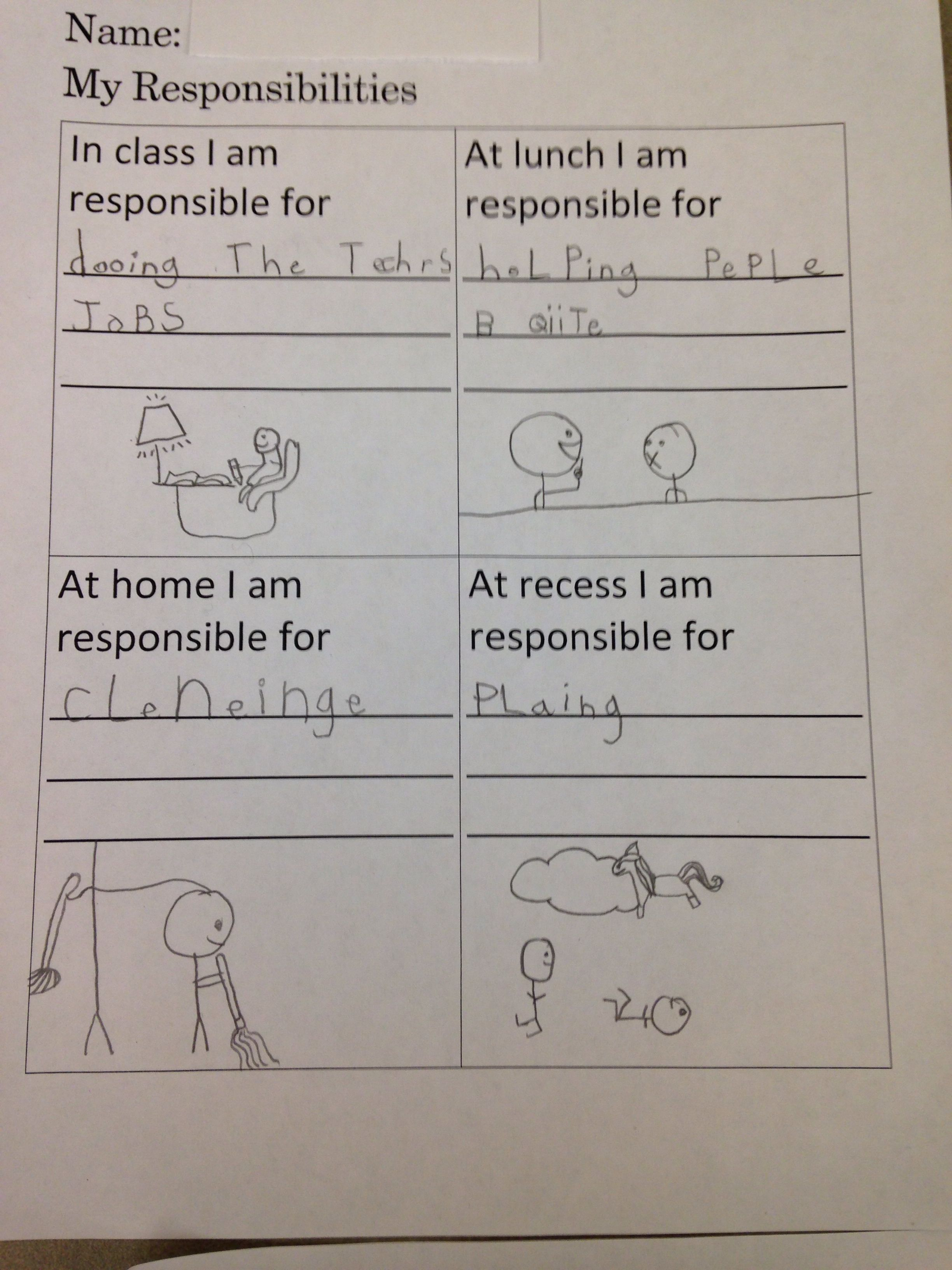School Counseling Guidance Lesson Lesson 1 In Responsibility Unit Write About Your