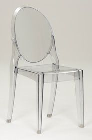 Superb Crystal Clear Transparent Plastic Stacking Side Chair   Cheap! $80/2, $90/