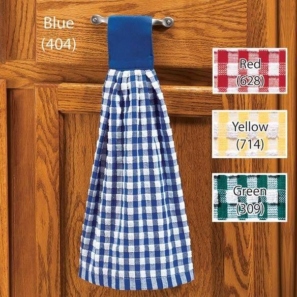 Hanging Kitchen Gingham Hand Towel With Velcro Closure With