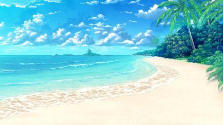 Beach Hd Cg Ocean Tree Anime Sweet Landscape Sea Cloud Scenic Sky Water Realistic Nice Sand Nature Cenario Anime Cenario De Praia Casa Anime