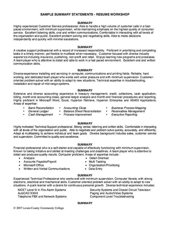 Sample Summary Statements Resume Workshop Resume Summary