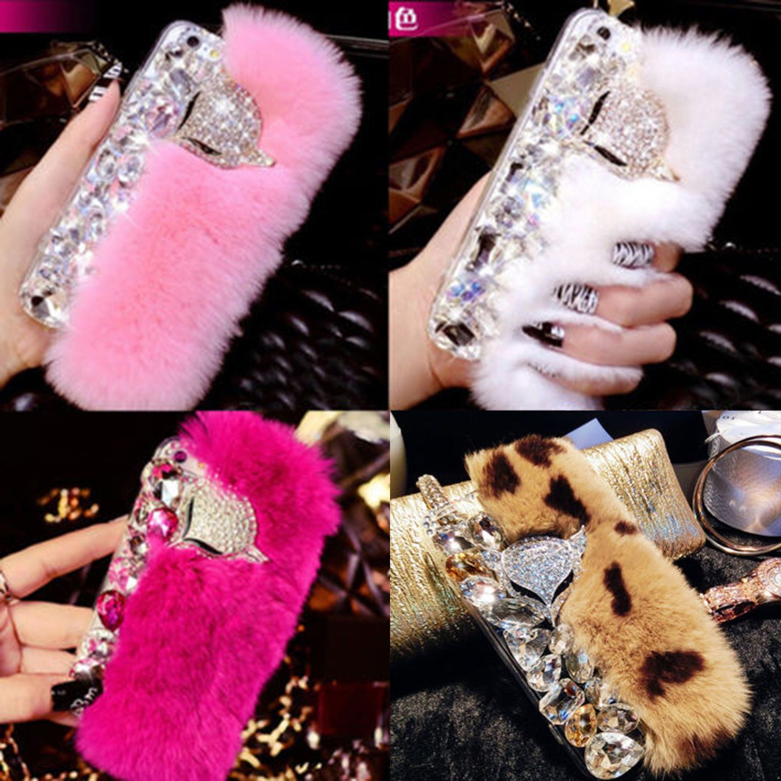 3d luxury bling crystal diamonds fox soft warm rabbit fur