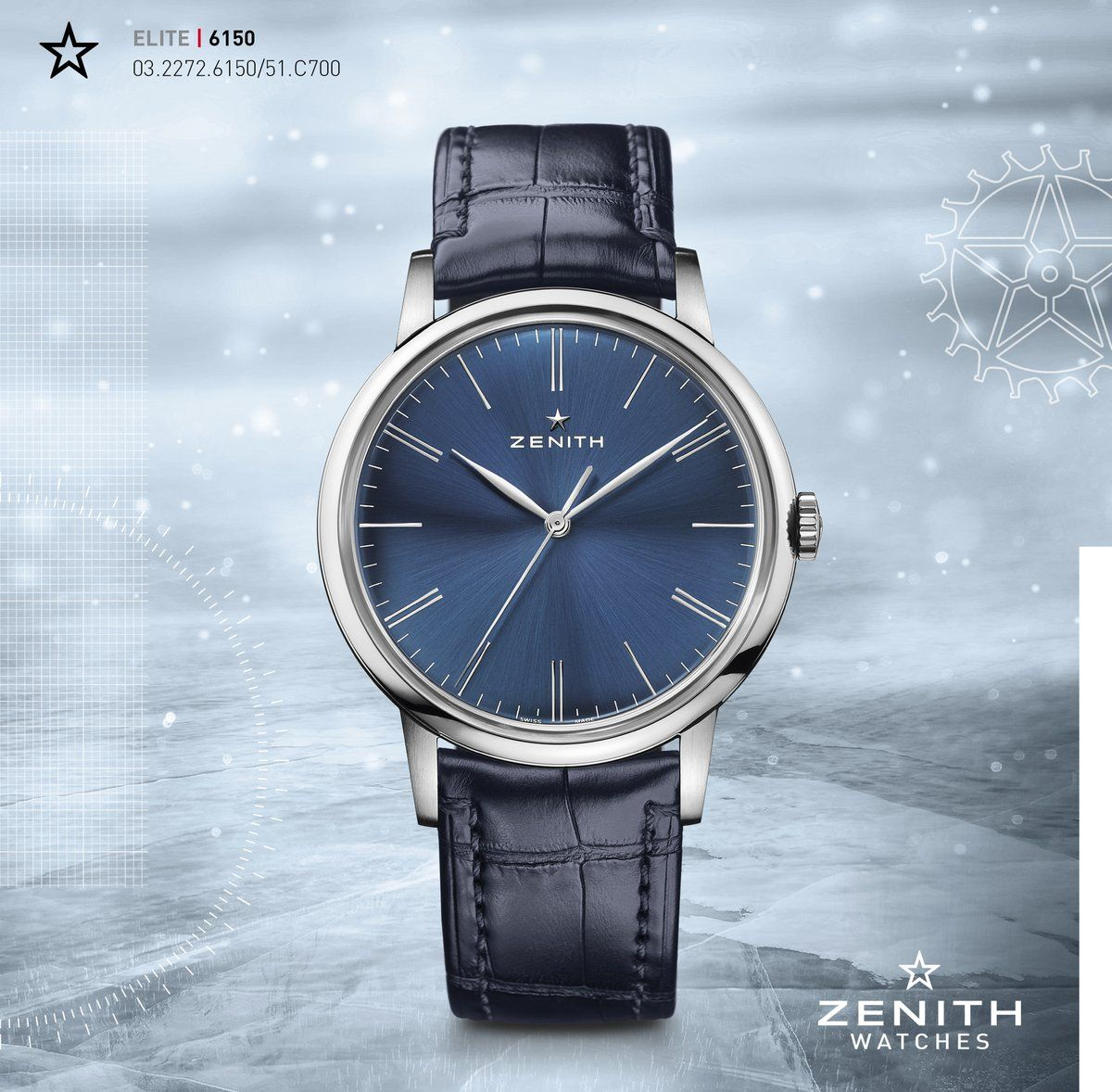Zenith Watches ‏@ZenithWatches  Who said red is the colour of Christmas? This year Zenith is going blue all the way with the Elite 6150! #zenithshadesofblue