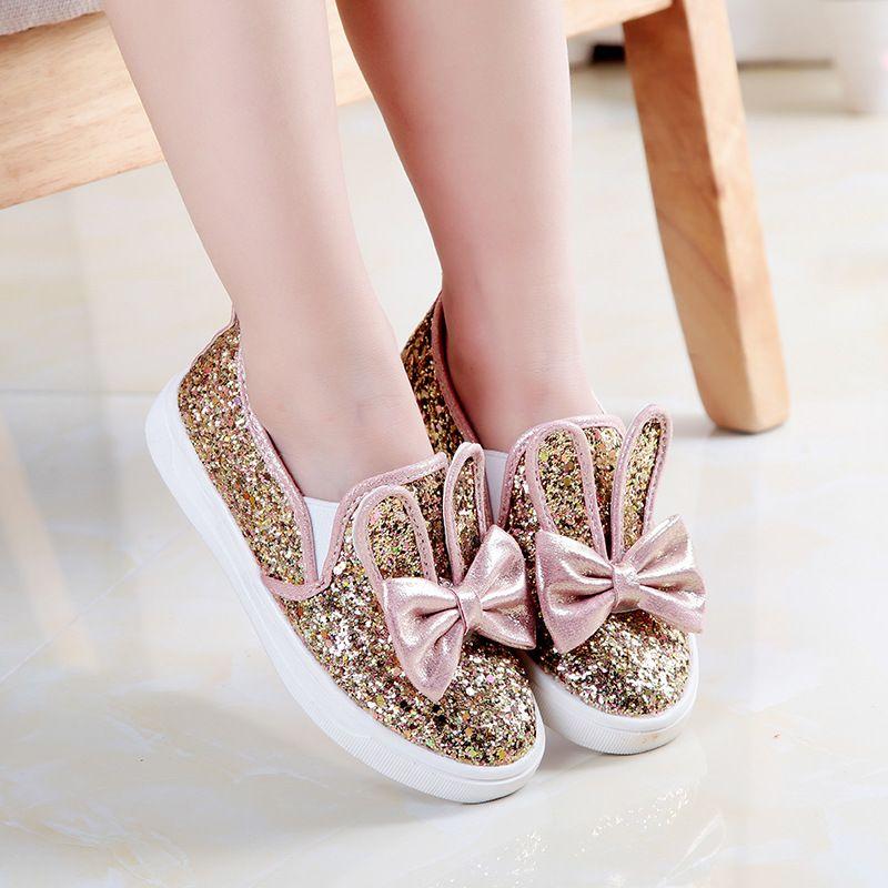 1809b21e99579 Aliexpress.com  Acheter 2015 automne coréenne enfants princesse chaussures  TPR bas paillettes arc noeud filles sneakers slip on casual chaussure fille  xhl02 ...