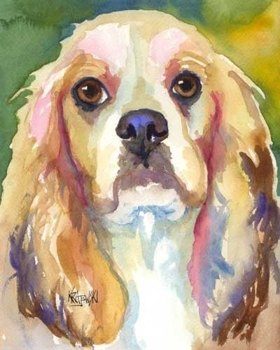 Cocker Spaniel Dog 8x10 Art PRINT Signed by Artist Ron Krajewski Painting